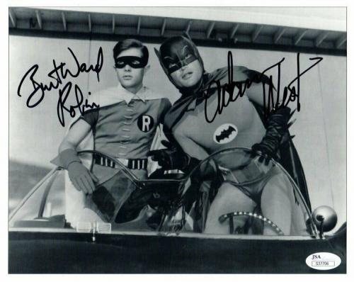 Adam West Burt Ward Dual Autographed Signed 8X10 Photo Batman Robin Leaning JSA
