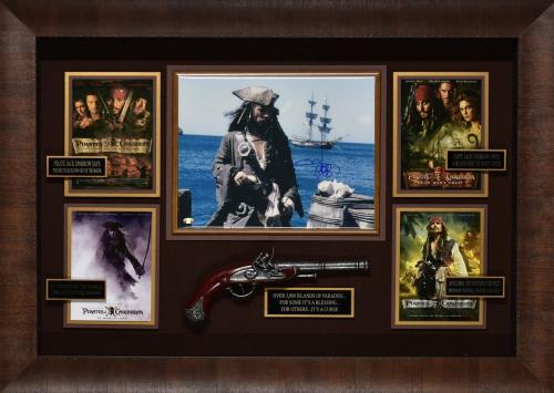 28×39 Pirates of the Caribbean Johnny Depp Signed Display with Replica Pistol