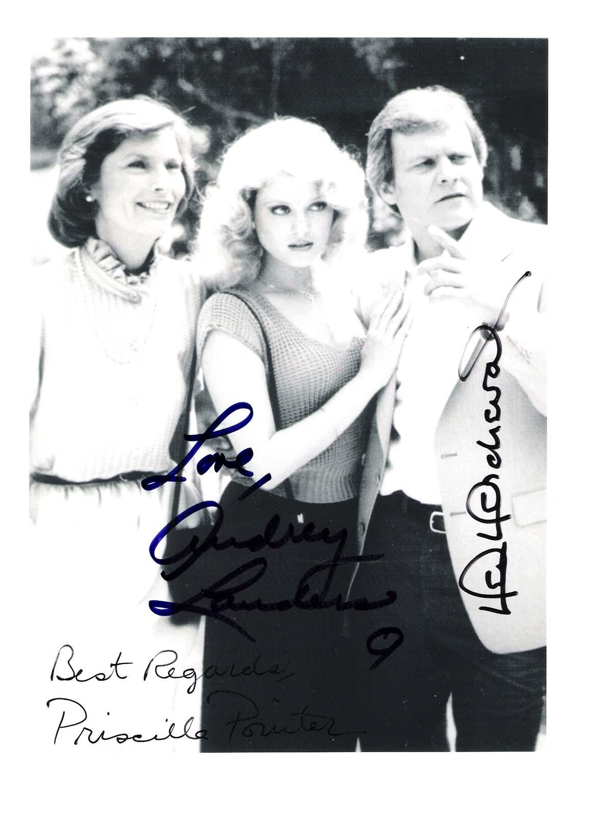 """Audrey Landers Dallas dallas"""" signedken kercheval, audrey landers, and priscilla presley  8.5/11 b/w photo"""
