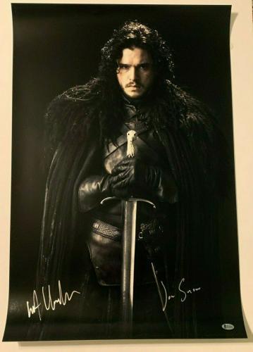 "KIT HARINGTON Signed GAME OF THRONES ""Jon Snow"" 20X30 Photo Beckett BAS Witness"