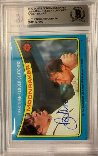ROGER MOORE Signed 1979 Topps James Bond trading card #55 Moonraker BAS Auth.