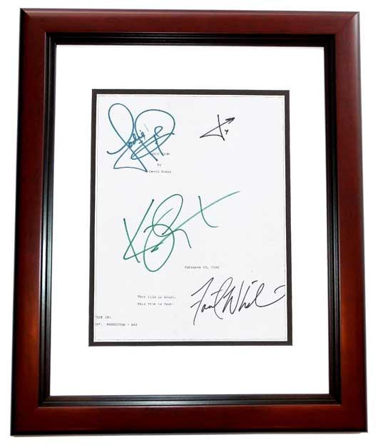 PANIC ROOM Signed - Autographed Script by Jodie Foster, Kristen Stewart, Forest Whitaker, and Jared Leto MAHOGANY CUSTOM FRAME