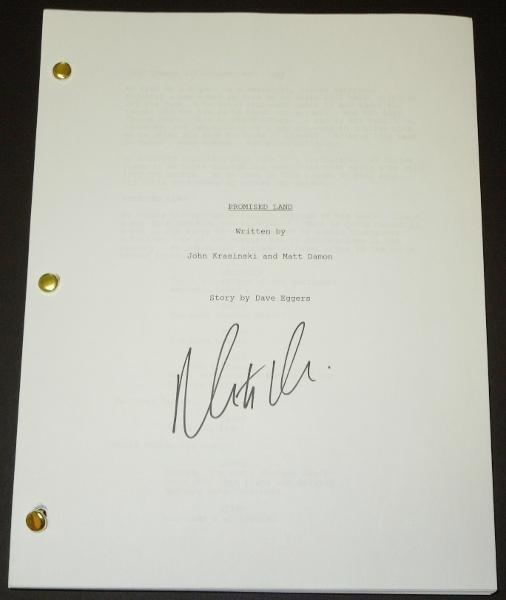 PROMISED LAND Signed - Autographed Script - Guaranteed to pass PSA or JSA by Matt Damon
