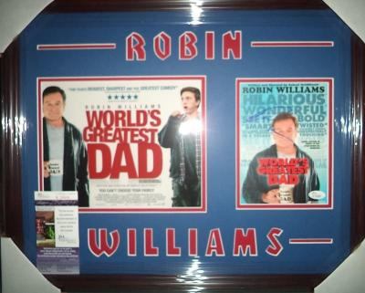 """Robin Williams """"world's Greatest Dad"""" Signed Double Matted & Framed B Jsa Coa"""