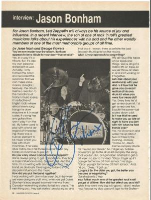 Jason Bonham Led Zeppelin Music Legend Signed Autograph 8x10 Magazine Page Coa B