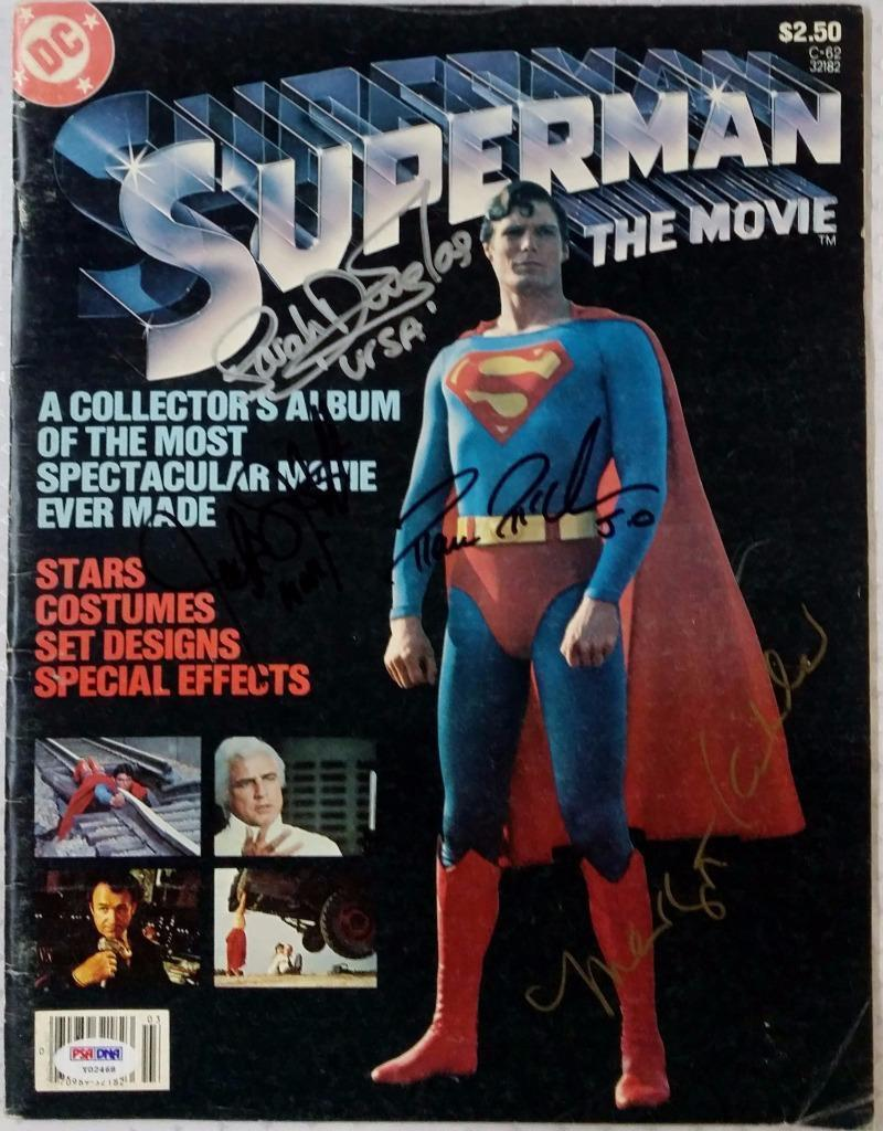 Margot Kidder Sarah Douglas Jack O'Halloran McClure Signed Superman Magazine PSA