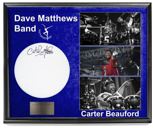 Carter Beauford Dave Matthews Band Signed Drumhead + Display Shadowbox Case