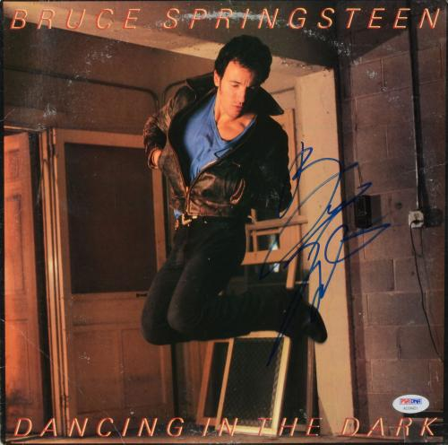 Bruce Springsteen Autographed Dancing In The Dark Album Cover - PSA/DNA LOA