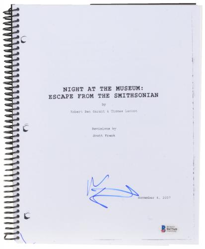 Ben Stiller Autographed Night At the Museum: Escape From the Smithsonian Replica Movie Script - Beckett COA