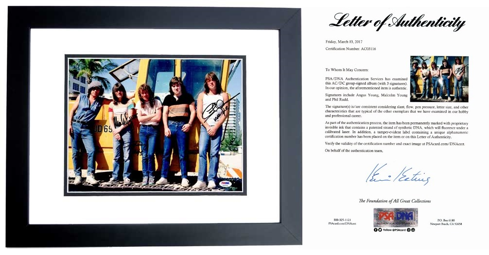 AC/DC Signed - Autographed 11x14 inch Photo BLACK CUSTOM FRAME ...