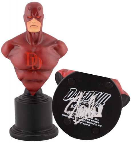 Stan Lee Autographed Daredevil Mini Bust with Silver Ink - BAS COA