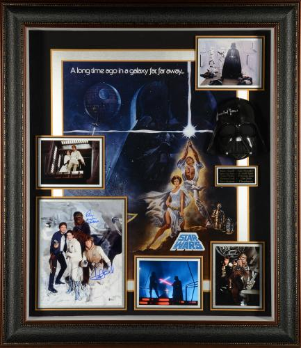 """Harrison Ford, Mark Hamill, Carrie Fisher, James Earl Jones, Peter Mayhew, & David Prowse Framed Autographed 39""""x 43"""" Star Wars Legacy Shadowbox Collage - Beckett LOA"""