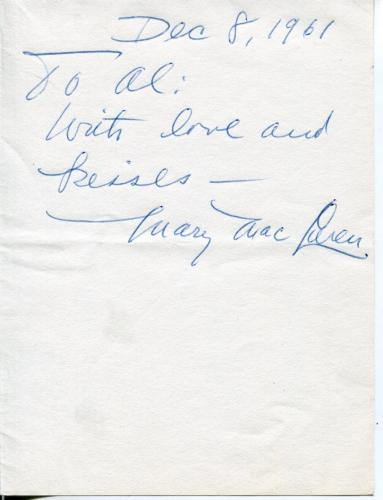 Official Website Mary Maclaren Silent Movie Actress In Reefer Madness Signed Page Autograph Fine Quality Cards & Papers Movies