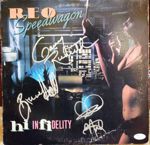 REO SPEEDWAGON Hand Signed JSA HIGH INFIDELITY ALBUM Autographed Authentic