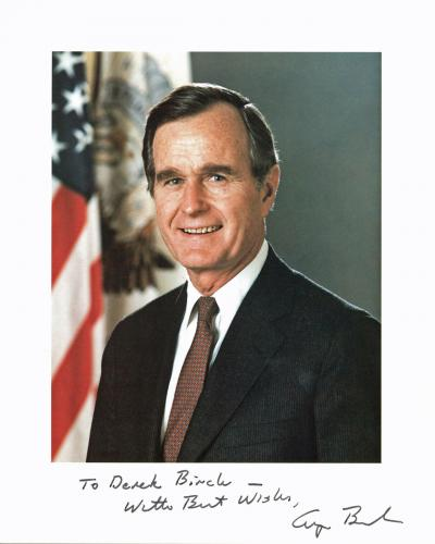 George H.W. Bush Best Wishes Signed 8x10 Photo Autographed BAS #A10782