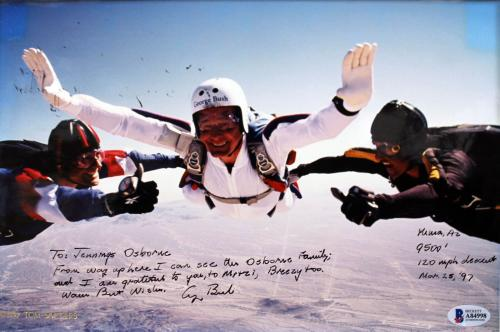 George H.W. Bus Signed & Matted 85th Birthday Skydiving 8x12 Photo BAS #A84998