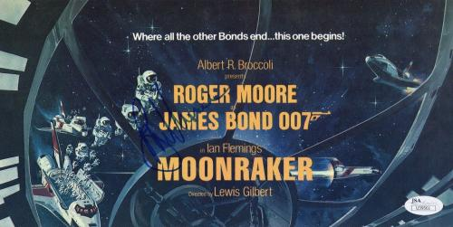 Roger Moore Hand Signed Moonraker Promo Foldout    James Bond     Rare       Jsa