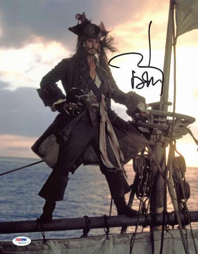 Johnny Depp Pirates Of The Caribbean Signed 11x14 Photo Graded 10! PSA #W04414