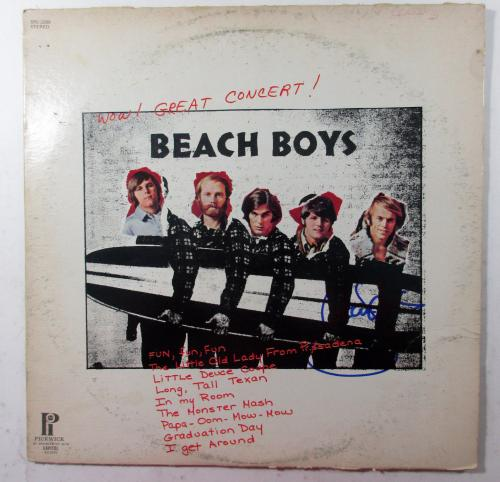 Al Jardine Signed Record Album The Beach Boys Wow! Great Concert! AUTO DF014010