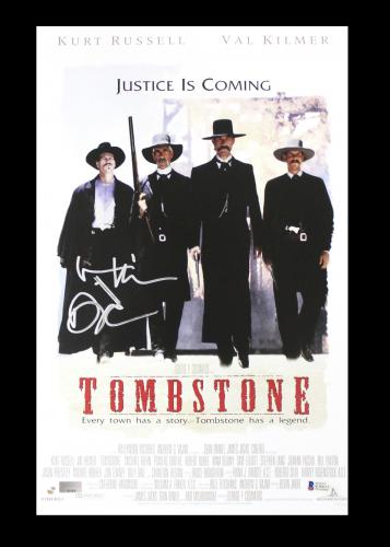 "cd4210283e382 IMAGE 1 of 3 · Val Kilmer Signed Tombstone 11×17 Poster with ""Doc""  Inscription"