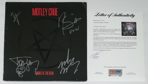 Motley Crue X4 Tommy Lee Nikki Mick & Vince Signed Shout At The Devil Album Psa