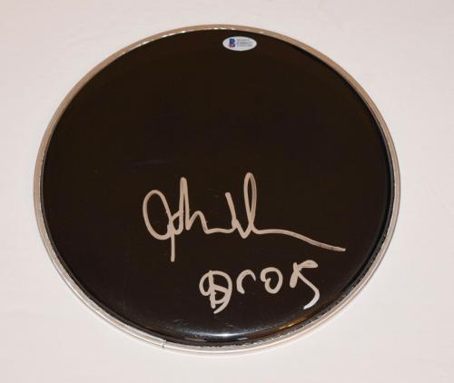 """John Densmore Signed Autograph 10"""" Drumhead THE DOORS Drummer Beckett BAS COA"""