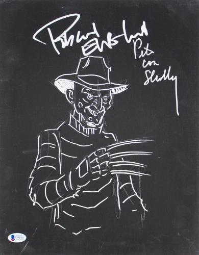 Robert Englund & Pete Von Sholly Signed 11x14 Canvas w Freddy Sketch BAS #D94461