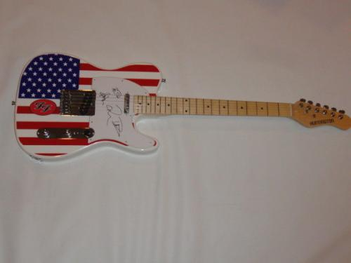 The Foo Fighters Signed Usa Flag Guitar Dave Grohl Sketch Taylor Pat Jsa Coa