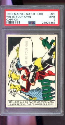 1966 Marvel Super Heroes MCG #25 Write Your Own Caption Daredevil Card PSA 9