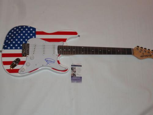Adam Levine Signed Usa Flag Electric Guitar Maroon 5 Legend Jsa Coa