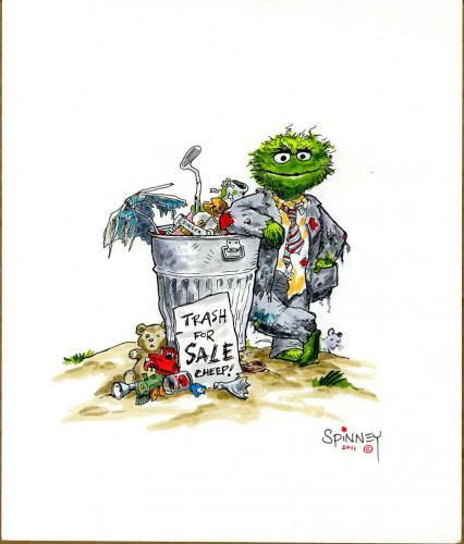 Caroll Spinney 8 X10 Original Art Oscar The Grouch Trash Can Watercolor Psa Dna
