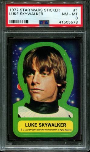 1977 Star Wars Stickers #1 Luke Skywalker Psa 8 N2636557-578