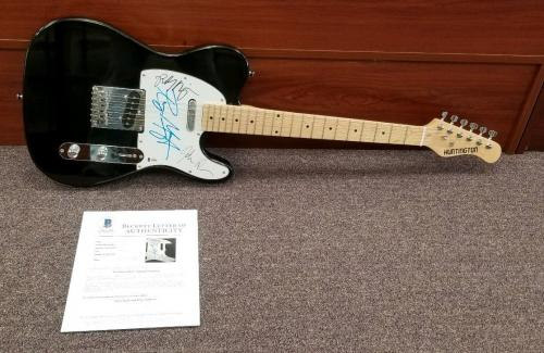 The Doors X3 Signed Guitar Robby Krieger Ray Manzarek John Densmore Beckett Coa