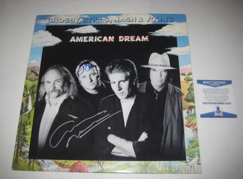 STEPHEN STILLS & GRAHAM NASH Signed AMERICAN DREAM LP COVER w/ Beckett COA
