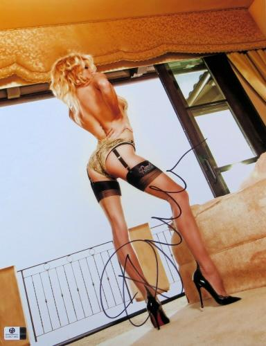 Pamela Anderson Signed Autographed 11X14 Photo Sexy Heels in Bedroom JSA CC88586