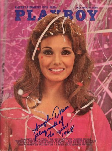 Angela Dorian Signed Full 1968 Playboy Magazine + Pmoy 1968 Rare Beckett Bas