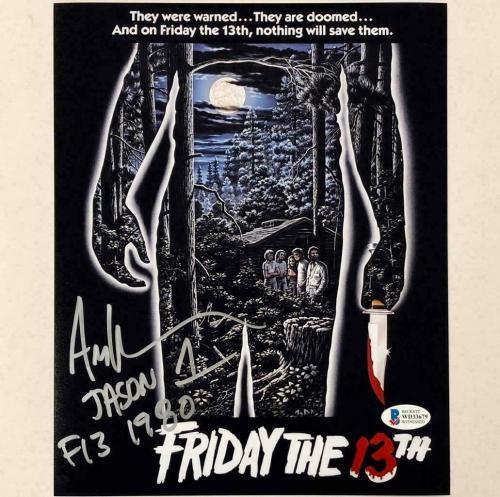 "ARI LEHMAN signed Friday the 13th ""F13 JASON 1"" 8x10 movie poster photo ~ BAS"