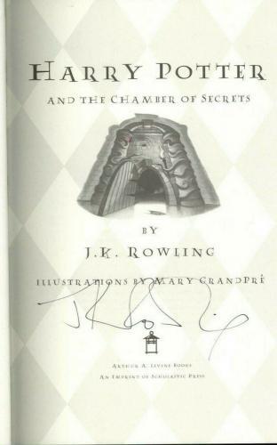 JK Rowling Signed First Edition Harry Potter 1st Chamber of Secrets Book JSA