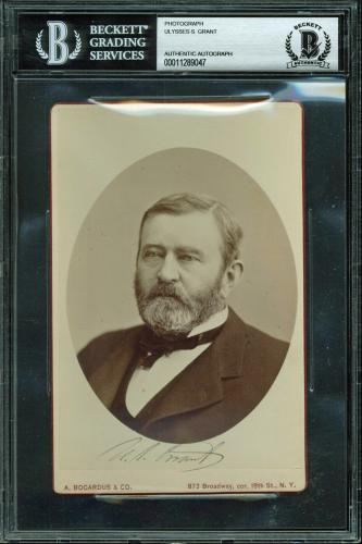 Ulysses S. Grant Signed 4.25x6.5 Cabinet Photo Autographed BAS Slabbed