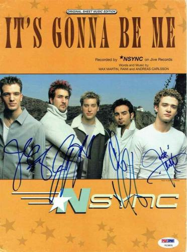 NSYNC Band Autographed Signed By All 5 Sheet Music Certified Authentic PSA/DNA
