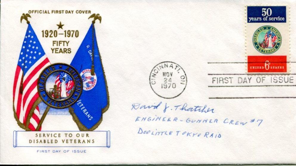 David Thatcher WWII War Doolittle Raid Raider Ruptured Duck Signed Autograph FDC