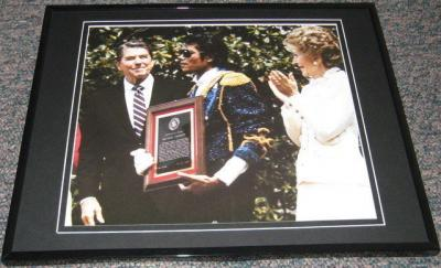 Michael Jackson Ronald Reagan Nancy Reagan Framed 8x10 Poster Photo