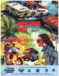 "Canvas 36"" x 48"" 15th Annual 1973 Daytona 500 Program Print - Mounted Memories"