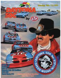 "Canvas 36"" x 48"" 33rd Annual 1991 Daytona 500 Program Print - Mounted Memories"