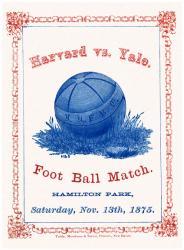 1875 Yale Bulldogs vs Harvard Crimson 36x48 Canvas Historic Football Poster