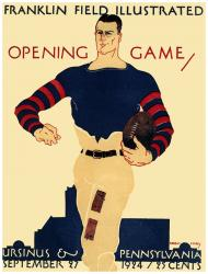 1924 Penn Quakers vs Ursinus Grizzly Bear 36x48 Canvas Historic Football Poster