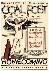 1927 Minnesota Golden Gophers vs Iowa Hawkeyes 36x48 Canvas Historic Football Poster