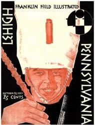 1930 Penn Quakers vs Lehigh Mountain Hawk 36x48 Canvas Historic Football Poster