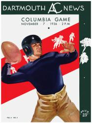 1936 Dartmouth Big Green vs Columbia Lions 36x48 Canvas Historic Football Poster - Mounted Memories