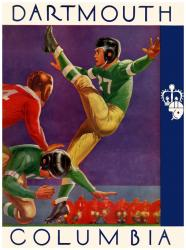 1937 Columbia Lions vs Dartmouth Big Green 36x48 Canvas Historic Football Poster - Mounted Memories